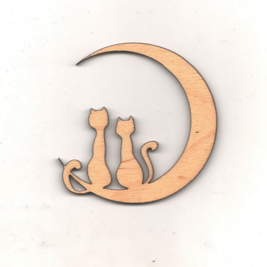 Заготовки на День Святого Валентина, Заготовка Лунные котики (модель 1) 9 см