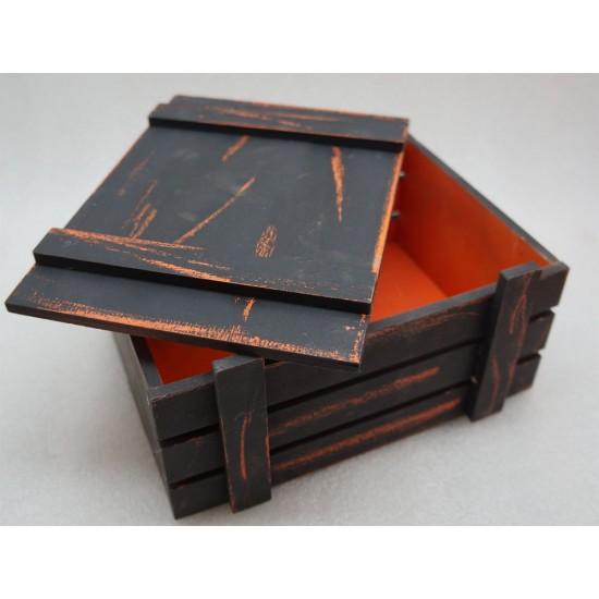 Старинный(потертый) Ящик страха с крышкой оранж-черный