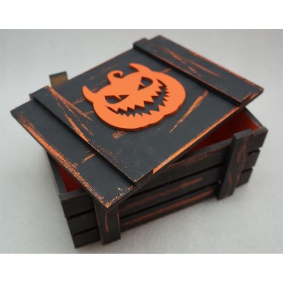 Старинный ящик страха с зубастой тыквой оранж-черный