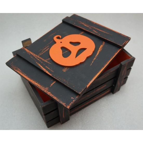 Старинный ящик страха с унылой тыквой оранж-черный