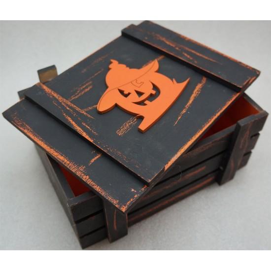 Старинный Ящик страха с волшебной тыквой оранж-черный