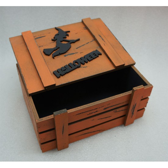 Старинный ящик страха Helloween ведьма черно-оранж