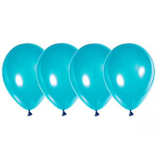 """Воздушные шары без рисунка, Воздушный шар латексный 12"""", стандарт люкс (ПАСТЕЛЬ), 50 шт/упак. Бирюзовый,  (50 шт.), 2.90 р. за 1 шт."""