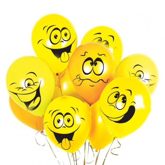 """Воздушные шары с рисунком, Воздушный шар латексный 12"""" стандарт (ПАСТЕЛЬ) ассорти 5 шт. """"Смайлы"""",  (1 шт.), 37 р. за 1 шт."""