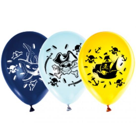 """Воздушные шары с рисунком, Воздушный шар латексный 12"""" стандарт (ПАСТЕЛЬ) ассорти 5 шт. """"Пираты"""",  (1 шт.), 35 р. за 1 шт."""