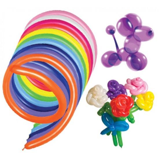 ШДМ, (ШДМ 360) Воздушный шар латексный для моделирования, стандарт (ПАСТЕЛЬ), 50 шт/упак. Ассорти,  (50 шт.), 4.50 р. за 1 шт.