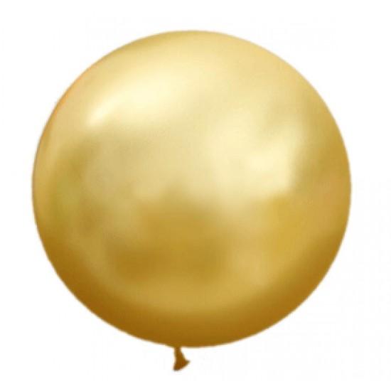 Шары гиганты, Воздушный шар латексный, металик, Золотой,  (1 шт.), 180 р. за 1 шт.