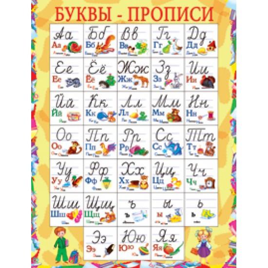 Плакаты, Буквы-прописи,  (10 шт.), 32 р. за 1 шт.