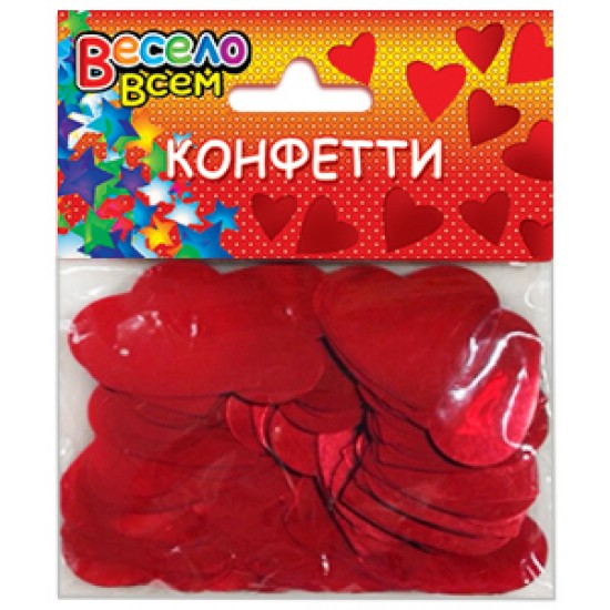 Конфетти на свадьбу, Конфетти Сердца красный,  (1 шт.), 30 р. за 1 шт.