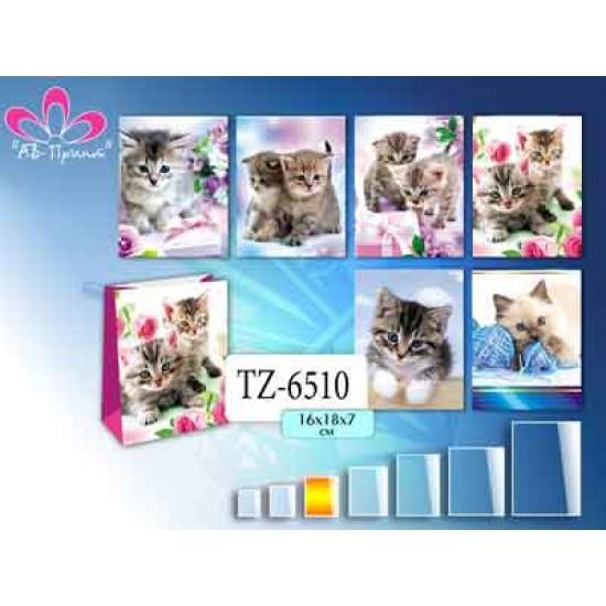 Бумажные коробки и пакеты, Пакет КОШКИ 16х18х7,  (12 шт.), 6 р. за 1 шт.