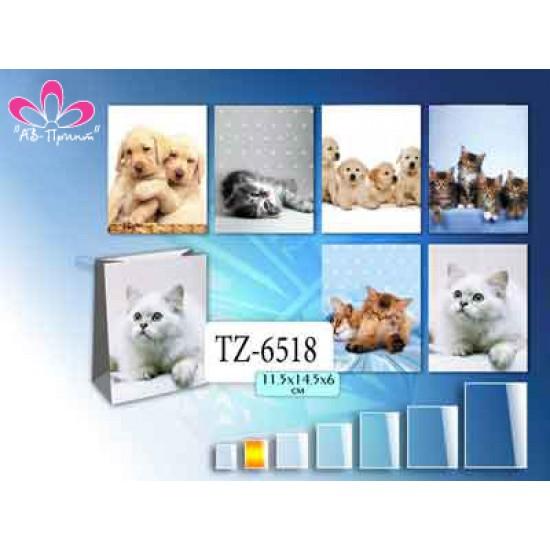 Бумажные коробки и пакеты, Пакет КОШКИ-СОБАКИ 11.5х14.5х6,  (12 шт.), 5 р. за 1 шт.